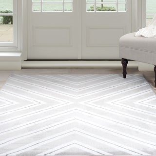 Windsor Home Kaleidoscope Area Rug - Grey & White 4' x 6'