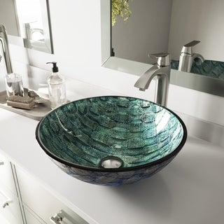 VIGO Oceania Glass Vessel Sink and Linus Faucet Set in Brushed Nickel Finish
