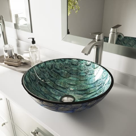 VIGO Oceania Glass Vessel Sink and Linus Brushed Nickel Faucet Set