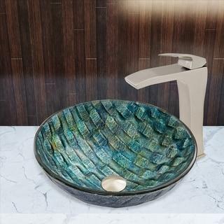 VIGO Oceania Brushed Nickel Glass Vessel Sink and Blackstonian Faucet Set
