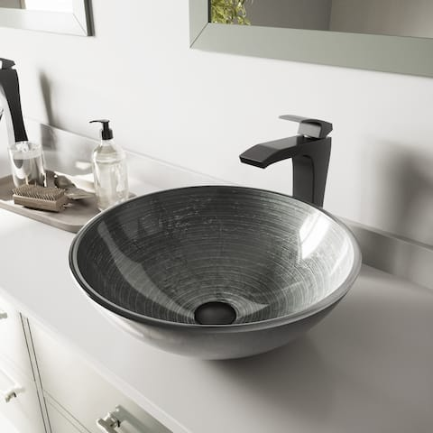 VIGO Simply Silver Glass Vessel Bathroom Sink and Blackstonian Faucet