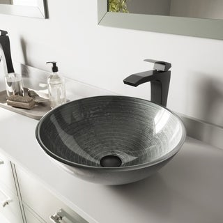 VIGO Simply Silver Glass Vessel Sink and Blackstonian Faucet Set in Matte Black Finish