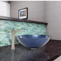 VIGO Indigo Eclipse Glass Vessel Sink and Blackstonian Faucet Set in Brushed Nickel Finish