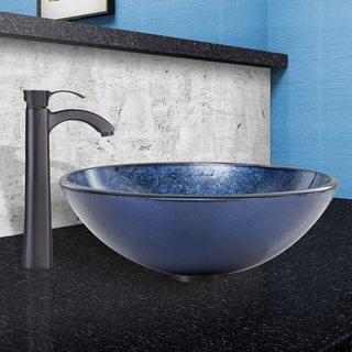 VIGO Indigo Eclipse Glass Vessel Sink and Otis Faucet Set in Matte Black Finish