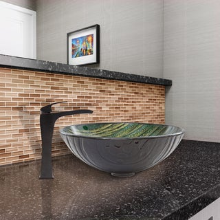 VIGO Green Asteroid Glass Vessel Sink and Blackstonian Faucet Set in Antique Rubbed Bronze Finish