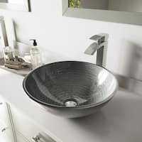 VIGO Simply Silver Glass Vessel Bathroom Sink and Duris Faucet Set