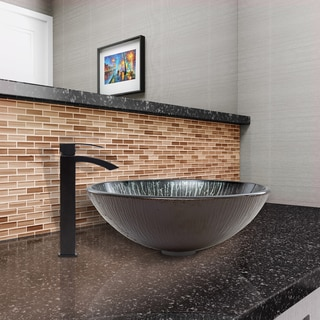 VIGO Enchanted Earth Glass Vessel Sink and Duris Faucet Set in Matte Black Finish