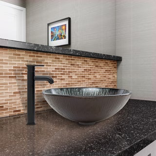 VIGO Enchanted Earth Glass Vessel Sink and Seville Faucet Set in Matte Black Finish