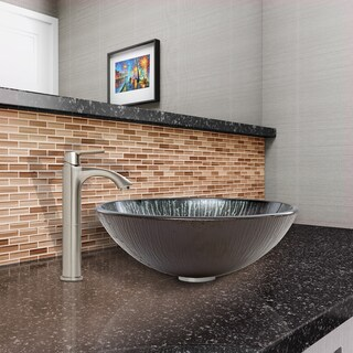 VIGO Enchanted Earth Glass Vessel Sink and Linus Faucet Set in Brushed Nickel Finish