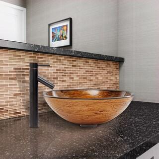 VIGO Cappuccino Swirl Glass Vessel Sink and Dior Faucet Set in Antique Rubbed Bronze Finish