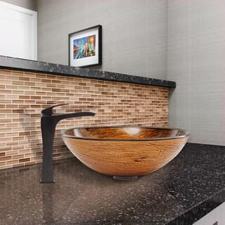 VIGO Cappuccino Swirl Glass Vessel Sink and Blackstonian Faucet Set in Antique Rubbed Bronze Finish
