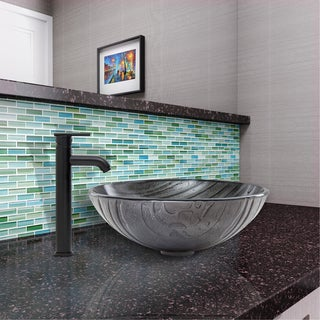 VIGO Interspace Glass Vessel Sink and Seville Faucet Set in Matte Black Finish