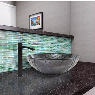 VIGO Interspace Glass Vessel Sink and Duris Faucet Set in Matte Black Finish