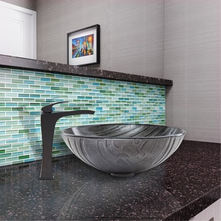 VIGO Interspace Glass Vessel Sink and Blackstonian Faucet Set in Matte Black Finish
