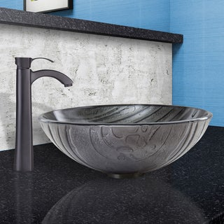 VIGO Interspace Glass Vessel Sink and Otis Faucet Set in Matte Black Finish