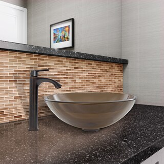 VIGO Sheer Sepia Glass Vessel Sink and Linus Faucet Set in Antique Rubbed Bronze Finish