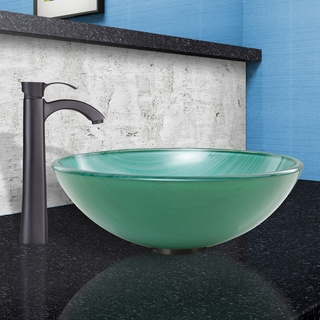 VIGO Whispering Wind Glass Vessel Sink and Otis Faucet Set in Matte Black Finish