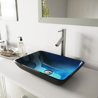 VIGO Rectangular Turquoise Water Glass Vessel Sink and Dior Faucet Set in Brushed Nickel Finish