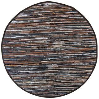 Brown Matador Leather Chindi (3'x3') Round Rug