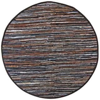 Brown Matador Leather Chindi 3 X3 Round Rug