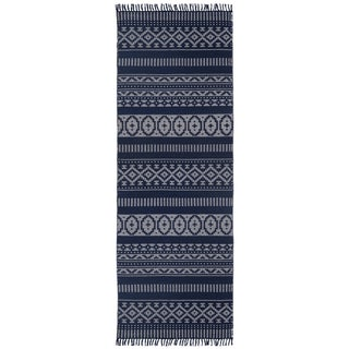 Blue Geo Cotton (2.5'x12') Reversible Runner