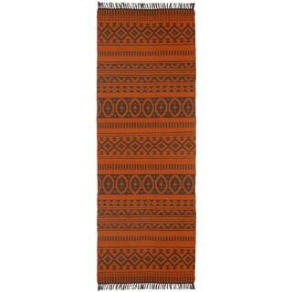 Orange Geo Cotton (2.5'x12') Reversible Runner