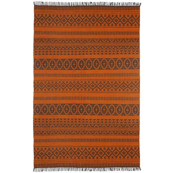 Orange Geo Cotton (3'x5') Reversible Rug