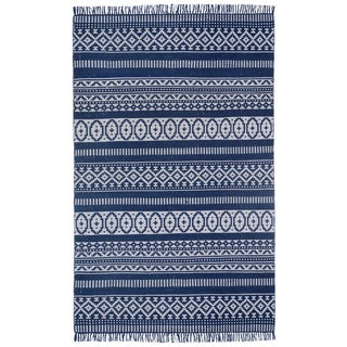 Blue Geo Cotton (5'x8') Reversible Rug - 5' x 8'
