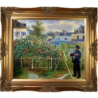 Pierre-Auguste Renoir 'Monet Painting in His Garden at Argenteuil, 1873' Hand Painted Framed Canvas Art