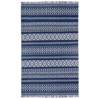 Blue Geo Cotton (4'x6') Reversible Rug
