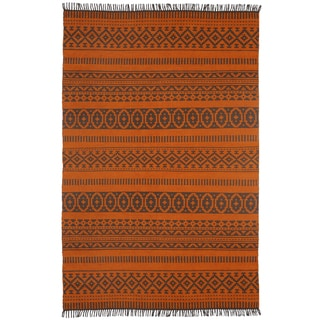 Orange Geo Cotton (5'x8') Reversible Rug