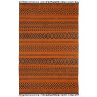 Orange Geo Cotton (5'x8') Reversible Rug