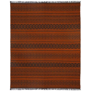 Orange Geo Cotton (8'x10') Reversible Rug