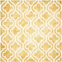 Safavieh Handmade Dip Dye Watercolor Vintage Gold/ Ivory Wool Rug - 7' x 7' Square