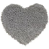 "Grey Shagadelic Chenille Twist (20x24"") Shag Heart - 1'8"" x 2'"