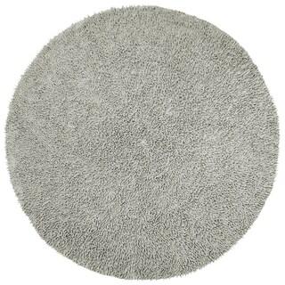Grey Shagadelic Chenille Twist (2'x2') Round Shag Rug