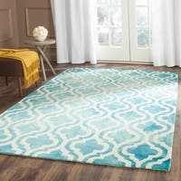 Safavieh Handmade Dip Dye Watercolor Vintage Turquoise/ Ivory Wool Rug - 7' x 7' Square