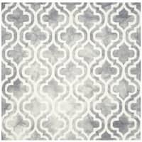 Safavieh Handmade Dip Dye Watercolor Vintage Grey/ Ivory Wool Rug - 7' Square