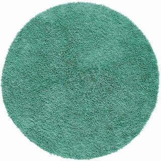 Aqua Shagadelic Chenille Twist (2'x2') Round Shag Rug