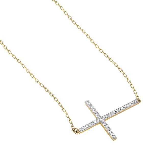 "14K White Gold Diamond 0.15 ct  Sideways Cross Pendant Necklace 18/"""