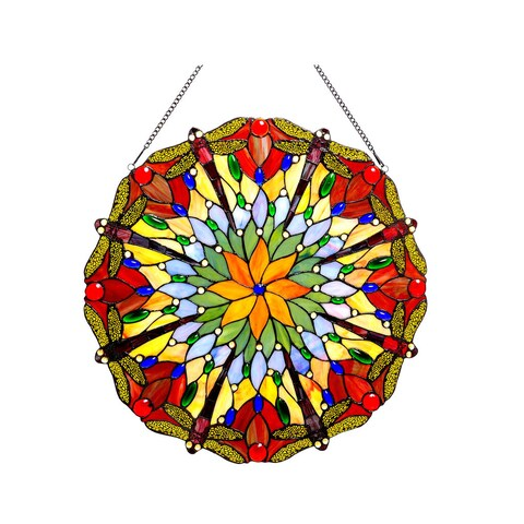 Chloe Tiffany Style Dragonfly Design Stained Glass Window Panel/Suncatcher - M