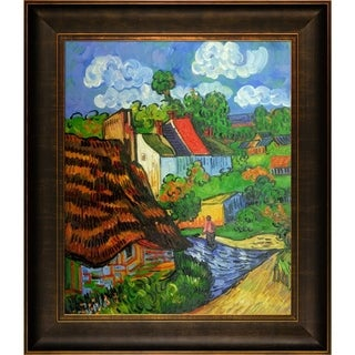 Vincent Van Gogh 'Houses in Auvers 2' Hand Painted Framed Canvas Art