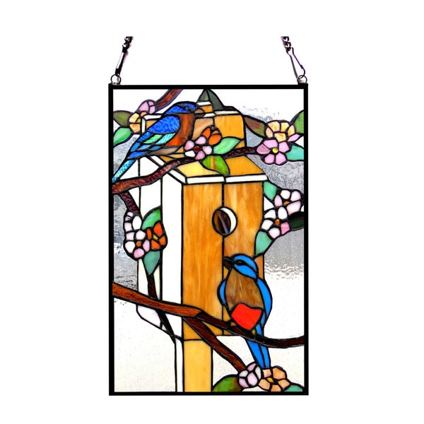 965d48f9b Chloe Tiffany Style Birdhouse With Birds Design Stained Glass Window Panel  - M