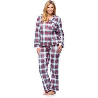 White Mark Women's Plus Size Plaid Flannel Slim-Fit Pajama Set