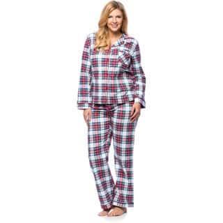 White Mark Women's Plus Size Plaid Flannel Slim-Fit Pajama Set|https://ak1.ostkcdn.com/images/products/10577964/P17653806.jpg?impolicy=medium