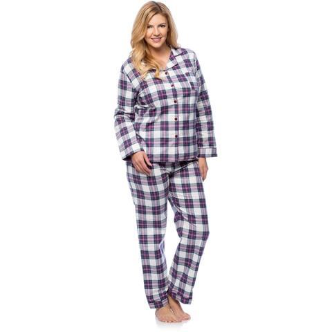 White Mark Women's Plus Size Plaid Flannel Slim-Fit Pajama Set