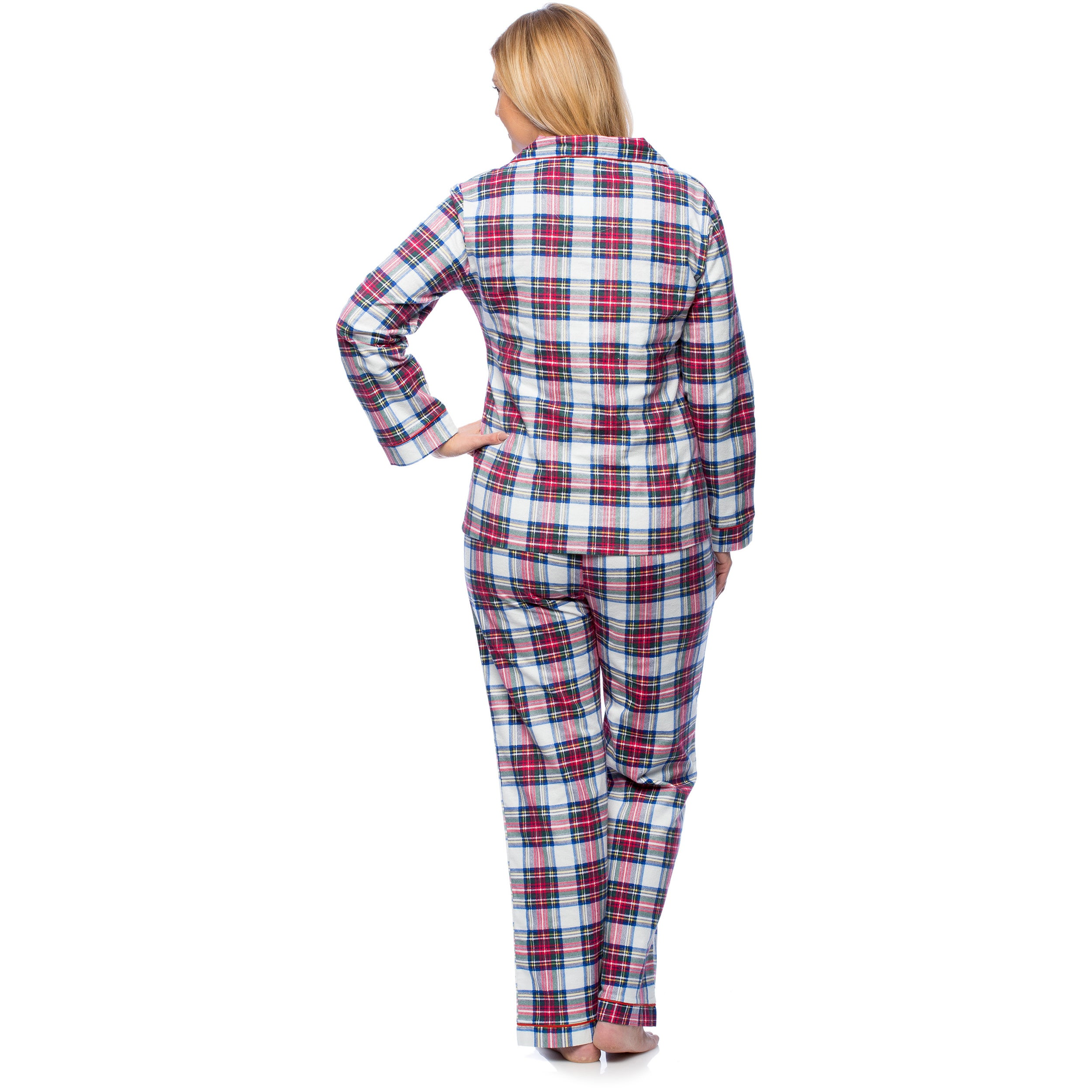 White Mark Women's Plus Size Plaid Flannel Slim-Fit Pajama ...