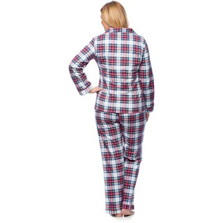 Link to White Mark Women's Plus Size Plaid Flannel Slim-Fit Pajama Set Similar Items in Intimates