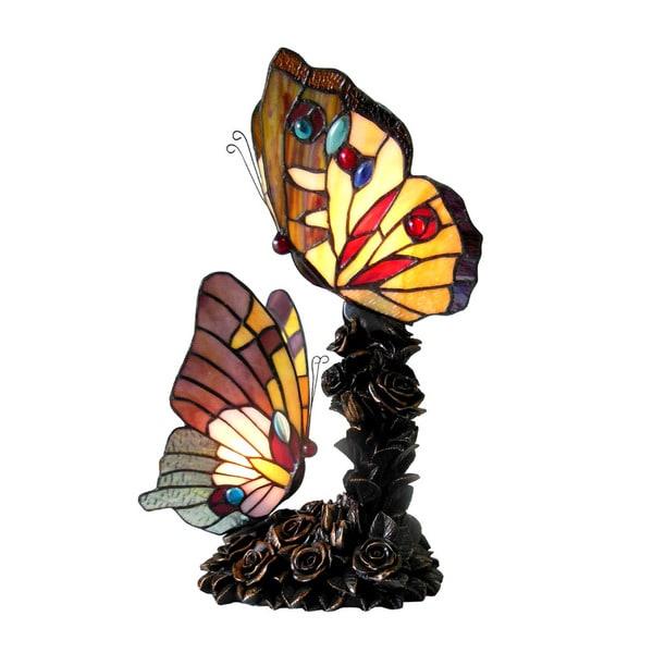 Shop Chloe Tiffany Style Butterfly 2 Light Bronze Table Lamp Free