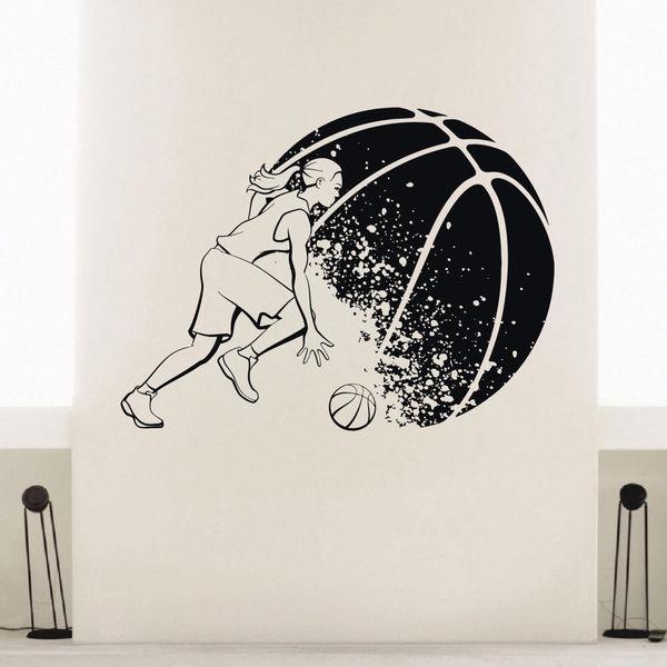 Shop Girl Basketball Player Vinyl Wall Art Decal Sticker ...